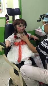 annabelle costume a boy was dressed up as annabelle by during but