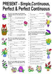 english teaching worksheets present perfect simple continuous