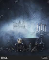halloween castle background halloween background with a spooky witchcraft tools over an