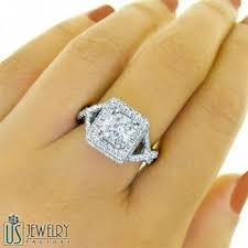 radiant cut engagement rings 2 47 tcw f vs1 radiant cut halo engagement ring twist band
