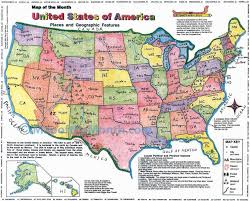 United States Map With Oceans by Usa Places And Geographic Features Map Maps For The Classroom