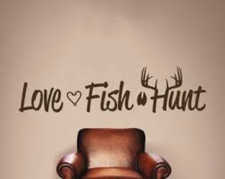 Hunting And Fishing Home Decor Love Fish Hunt Wall Decal Deer Antlers Vinyl Graphic Home