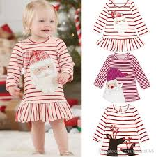 2017 christmas girls baby childrens dresses snowman striped