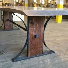 wood and iron dining room table live edge wood furniture custommade com