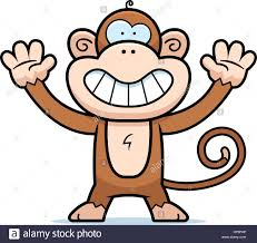 a happy cartoon monkey standing and smiling stock vector art