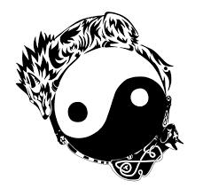 tribal wolf yin yang design