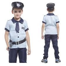 Halloween Men Costume Kids Policeman Cosplay Costume Super Men Costume Children