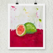 Fruit Decor For Kitchen Tropical Painting Guava Fruit Still Life Art Kitchen Decor