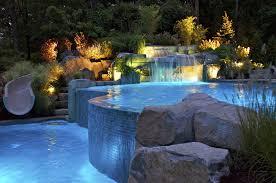 landscape lighting and colored led swimming pool lighting ideas mahwah nj