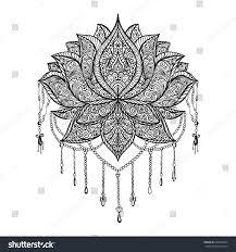ornamental lotus flower ornament stock vector 624540824