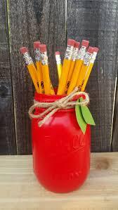 Wvu Home Decor Teacher Gift Red Mason Jar Teacher Appreciation Desk