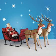 santa sleigh and reindeer 120in wide santa sleigh two reindeer set