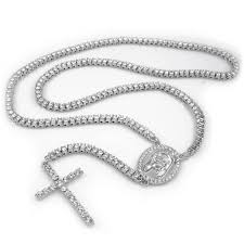 white rosary 14k white gold iced out 1 row rosary chain niv s bling