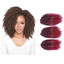 crochet marley hair styles 3pcs set 8inch ombre synthetic braiding hair crochet braids