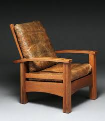 stickley mission style recliner leather and oak footstool with