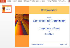 certificate for training completion template for powerpoint