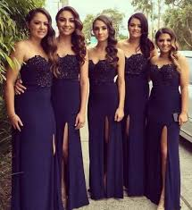 navy bridesmaid dresses blue prom dress mermaid strapless with gold belt 2016