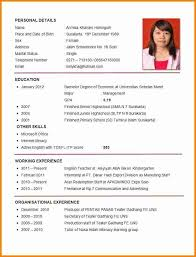 exle of resume for application resume format for cv format