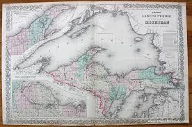 Upper Michigan Map Colton U0027s Lake Superior And The Upper Peninsula Of Michigan Sold
