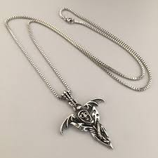 jewelry wings necklace images Vintage necklace jewelry bat wings charm pendant skull head snake jpg