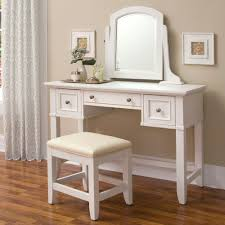 Makeup Stool Furniture White Wooden Makeup Tables With Swivel Mirror And
