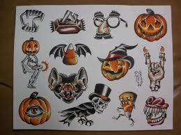 every day is halloween halloween traditional tattoo flash sheet 10 00 via etsy