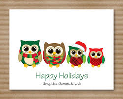 set of 8 owl family christmas cards note cards notecards