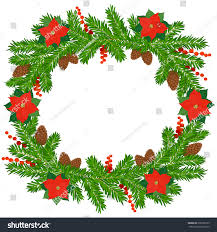 christmas wreath fir twigs poinsettia stock vector 336583133