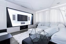 futuristic living room futuristic axioma apartment in black and white by geometrix design