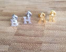 in earrings gold letter earrings etsy