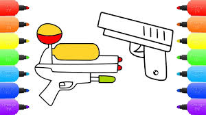 how to draw water gun vs pistol coloring pages drawing coloring