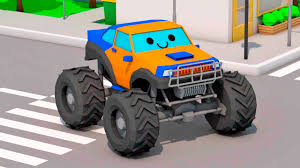 3d monster truck racing monster truck racing cars in the city cartoon for children 3d