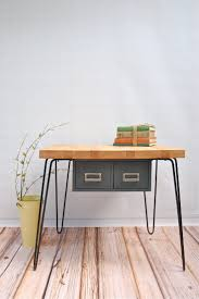 small modern butcher block computer desk with hanging double