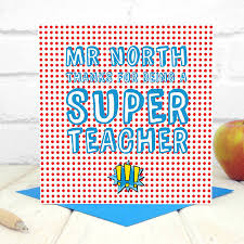 personalised super teacher card by chi chi moi
