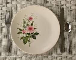 vintage china with pink roses leaf dinner plates etsy