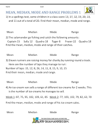 finding the mean median mode and range worksheets free worksheets