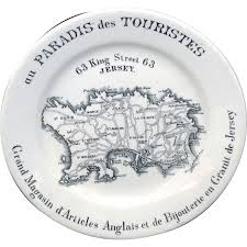 Channel Islands Map Rare Ironstone Transferware Map Plate Jersey Channel Islands C1880