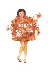Trojan Halloween Costume Soul Cycle Fanatic Pumpkin Spice Condom Costumes