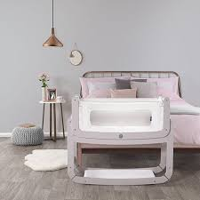 Bed Side Cribs Bedside Crib 3 In 1 In Blush With Mattress Modern Baby Cot