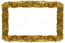 gold tinsel garland forming a rectangular frame with