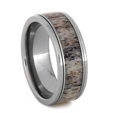 ring spinner spinner ring with shed deer antler in titanium