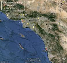Map Of Los Angeles Airports Metroplex Southern California