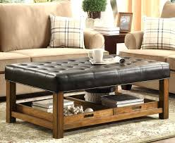 black leather storage ottoman with tray ottomans big black leather ottoman square storage coffee table