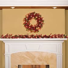 decor pre lit garland with red ball and flowers for christmas