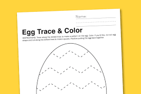 egg trace color preschool worksheet paging supermom