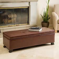 leather tufted storage ottoman enchanting bench storage ottoman brown leather upholstery tufted