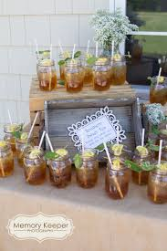 add a sweet tea station to your bridal shower this rustic themed