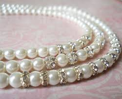 pearl necklace bridal jewelry images Pearl wedding jewelry sparkly bridal necklace silver bridal jpg