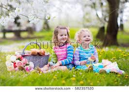 Kids Picnic Basket Family Children Enjoying Picnic Spring Garden Stock Photo