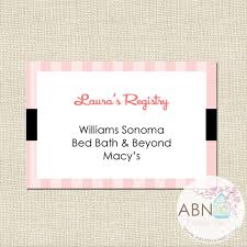 baby shower registries bridal shower insert registry card diy printable by a blissful